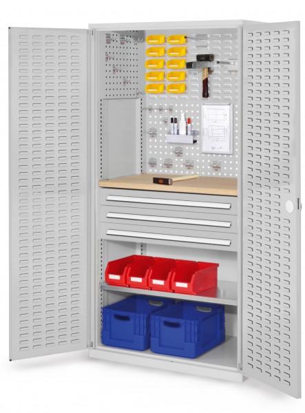 ®RasterPlan Schubladenschrank, Modell 25, RAL 7035. Türinnenseite: Schlitzplatten 1950 x 1000 x 600 mm, 3 Schubladen H 100 mm, 1 Fachboden verzinkt, 1 Werkbankplatte Multiplex.