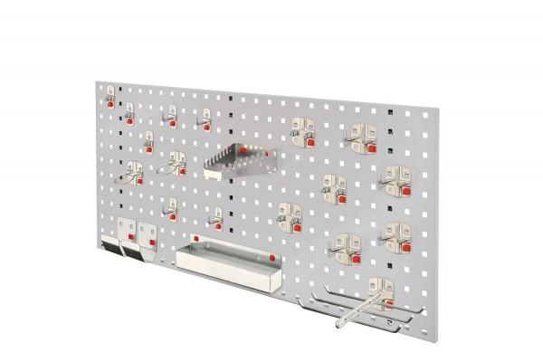 RasterPlan/ ABAX Lochplatten Einsteigerset 7, RAL 7035. Bestehend aus 1 Lochplatte 1000 mm, 1 ABAX Werkzeughaltersortiment 21-teilig,