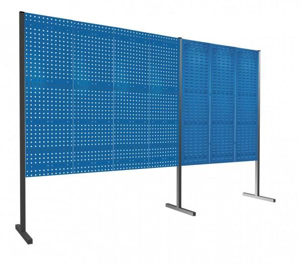 ®RasterPlan Trennwand Doppelfeld 180°, 1500 / 2000 mm, H1500 mm, RAL 5010. Mit 4 ®RasterPlan Lochplatten, 3 ®RasterPlan Schlitzplatten.