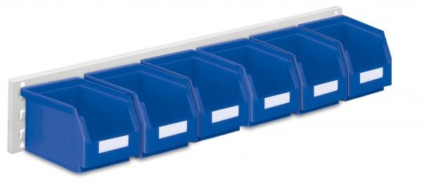 ®RasterPlan Wandschiene Schlitzplatte Set 8, L 920 mm, x H 140 mm, RAL 7035. 6 x Lagersichtkästen Größe 6.