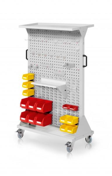 RasterMobil Gr. 4 RAL 7035, H1620 x B1000 x T500 mm. 1 x Auflageboden aus Stahlblech, 1 x Werkzeughaltersort. 28-teilig, 1 x Stahlboden 450 mm, 1 x Universalhalter, 6 x Lsk. Gr. 6, 7 x Lsk. Gr. 7, 2 x Lsk. Gr. 8.