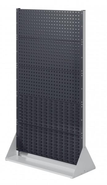 RasterPlan Stellwand Gr.5 doppelseitig, H1790 x B1000 x T430 mm, RAL 7035/7016. 6 Lochplatten, 4 Schlitzplatten.