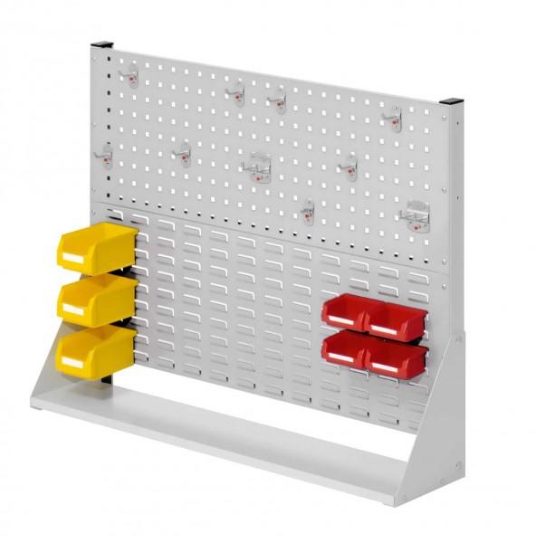 ®RasterPlan Stellwand Gr. 2 einseitig, H760 x B1000 x T240 mm, RAL 7035. 1 x Werkzeughaltersortiment 10-teilig, 3 x Lagersichtkästen Größe 7, 4 x Lagersichtkästen Größe 8.