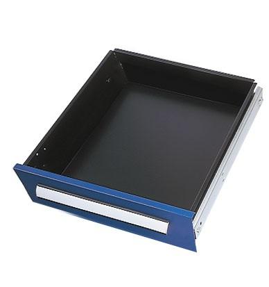 Schublade RAL 5010 H125 mm, Breite 500 mm, Vollauszug.