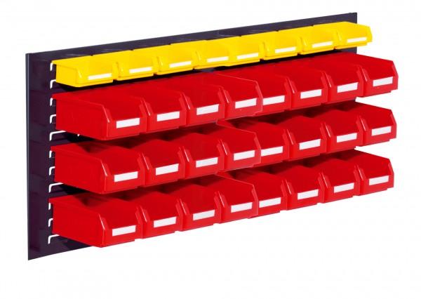 RasterPlan Schlitzplatten Einsteigerset 11, RAL 7016. 1 x Schlitzplatte H 450 x B 1000 mm, 24 x Lsk. Gr. 7, 8 x Lsk. Gr. 8.