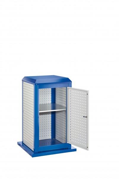 RasterPlan Tool Tower klein Mod 3, stationär, RAL 7035/5010. 3 LP außen klein, 2 LP innen klein, 1 LP Tür, 1 Fachboden.