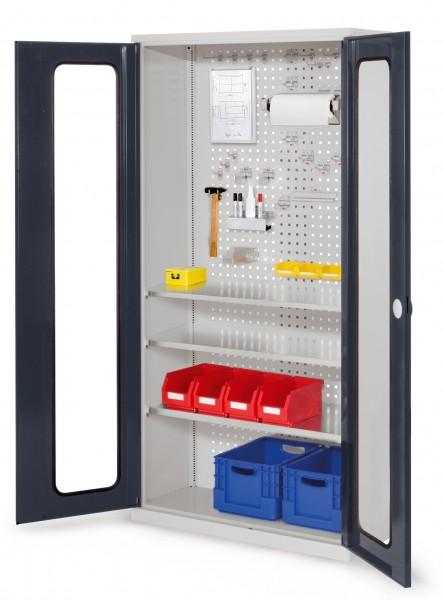 RasterPlan Werkzeugschrank Mod 6 410, H1950 x B1000 x T410 mm, RAL 7035/7016. Sichtfenstertüren, 3 Fachböden.