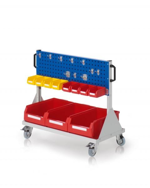 RasterMobil Gr. 2 RAL 7035/5010, H890 x B1000 x T500 mm. 1 x Werkzeughaltersortiment 10-teilig, 1 x Lagersichtkastenhalter 990 mm, 3 x Lagersichtkästen Größe 2, 8 x Lagersichtkästen Größe 7.
