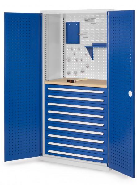 RasterPlan Schubladenschrank, Modell 17, RAL 7035/5010. Türinnenseite: Lochplatten, 1950 x 1000 x 600 mm, 9 Schubladen H 100 mm, 1 Werkbankplatte Multiplex.