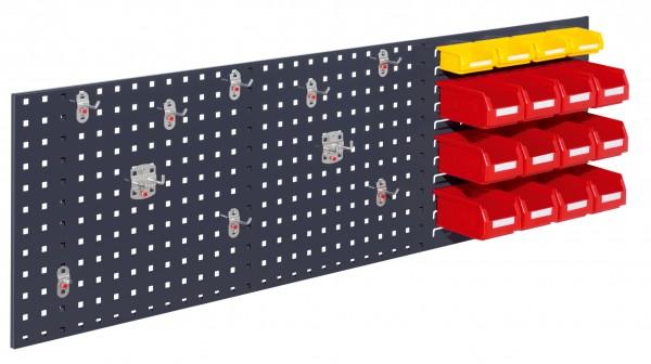 ®RasterPlan Kombiplatte Set 2, RAL 7016. 1 x Kombiplatte H 450 x B 1500 mm, 12 x Lagersichtkästen Größe 7, 4 x Lagersichtkästen, Größe 8, 1 x Werkzeughaltersortiment 10-teilig.