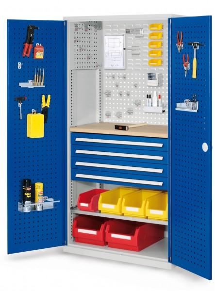 RasterPlan Schubladenschrank, Modell 16, RAL 7035/5010. Türinnenseite: Lochplatten, 1950 x 1000 x 600 mm, 4 Schubladen H 100 mm, 1 Fachboden verzinkt, 1 Werkbankplatte Multiplex.