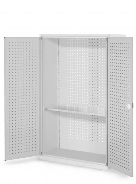 ®RasterPlan Werkzeugschrank Mod 3 410, H1600 x B1000 x T410 mm, RAL 7035. Türinnenseite: ®RasterPlan Lochplatten, 1 Fachboden.