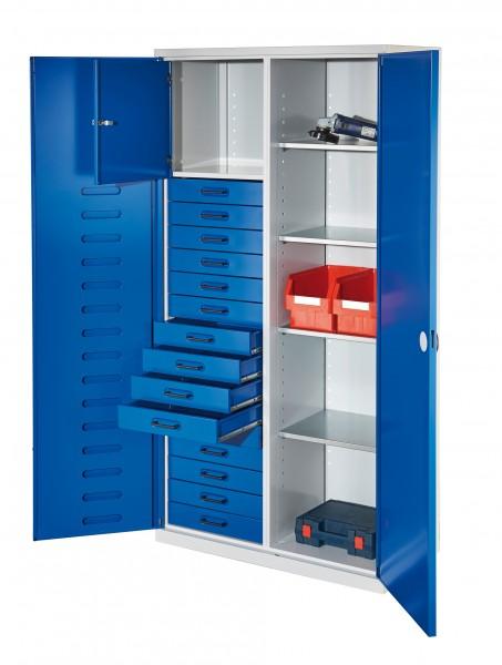 RasterPlan Arbeitsplatzhochschrank, H 1950 x B 1000 x T500 mm, RAL7035/5010. Inklusiv 15 Schubladen, 1 Privatfach, 4 Fachböden verzinkt