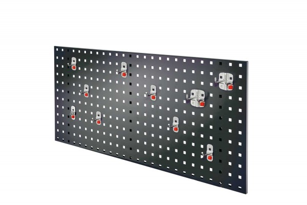 ®RasterPlan/ABAX Lochplatten Einsteigerset 1, RAL 7016. 1 x Lochplatte H 450 x B 1000 mm, 1 x Werkzeughaltersortiment 10-teilig.