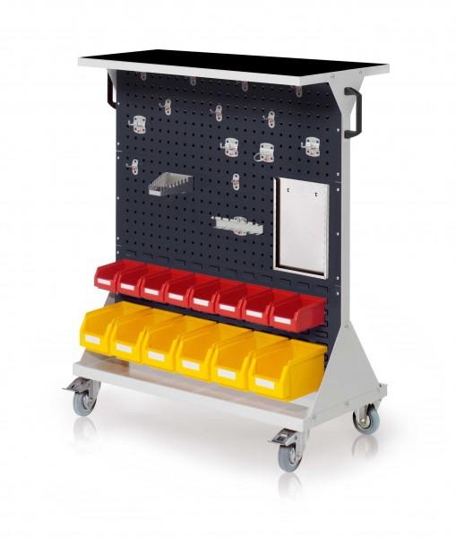 RasterMobil Gr. 3 RAL 7035/7016, H1270 x B1000 x T500 mm. 1 x Auflageboden aus Stahlblech inkl. Riffelgummimatte, 1 x Werkzeughaltersort. 15-teilig, 1 x Formularhalter A4, 6 x Lsk. Gr. 68 x Lsk. Gr. 7.
