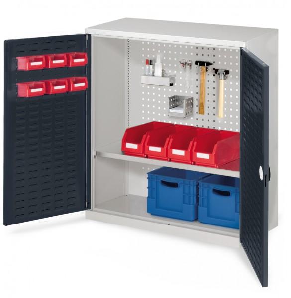 RasterPlan Werkzeugschrank Mod. 2 410, H1000 x B1000 x T410 RAL 7035/7016. Türinnenseite: RasterPlan Schlitzplatte ,1 Fachboden.