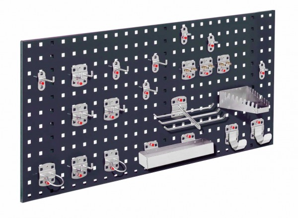 ®RasterPlan Einsteigerset 7 1 x ®RasterPlan Lochplatte RAL 7016 - Anthrazitgrau Breite 1000 mm x Höhe 450 mm 1 x ®RasterPlan Werkzeughalter-Sortiment 21-teilig