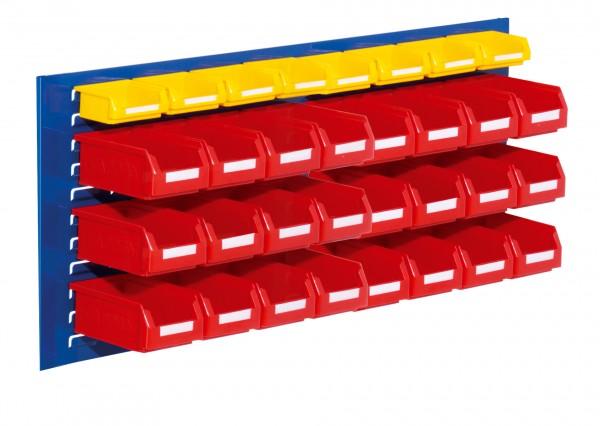 ®RasterPlan Schlitzplatten Einsteigerset 11, RAL 5010. 1 x Schlitzplatte H 450 x B 1000 mm, 24 x Lagersichtkästen Größe 7, 8 x Lagersichtkästen Größe 8.