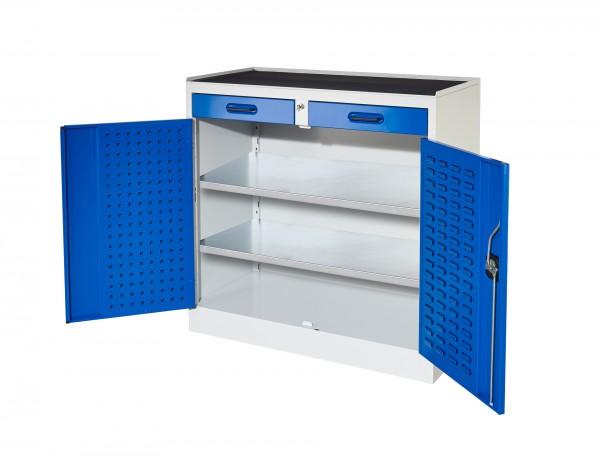 RasterPlan Arbeitsplatzschrank Modell 4a, RAL 7035/5010. Je 1 Innentür RasterPlan Lochplatten, RasterPlan Schlitzplatten, 2 Schubladen 2 Fachböden.