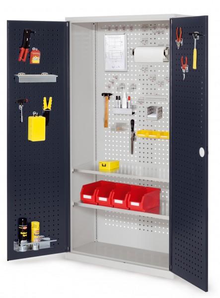 RasterPlan Werkzeugschrank Mod 5 410, H1950 x B1000 x T410 mm, RAL 7035/7016. Türinnenseite: RasterPlan Lochplatte, 2 Fachböden.