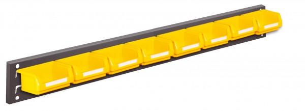 ®RasterPlan Wandschiene Schlitzplatte Set 2, L 920 mm, x H 100 mm, RAL 7016. 8 x Lagersichtkästen Größe 8.