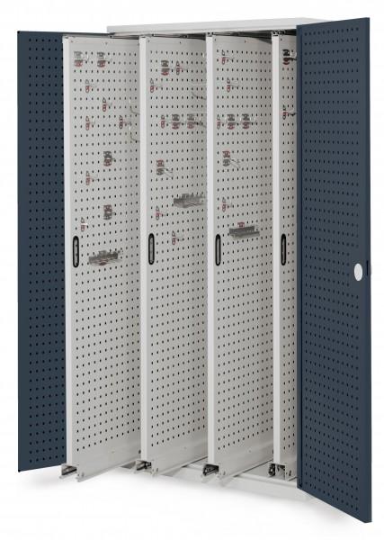 ®RasterPlan Vertikalschrank Modell 83, 1950 x 1000 x 600 mm, RAL 7035/7016. Türinnenseite: ®RasterPlan Lochplatten. 4 Auszüge Lochplatten.