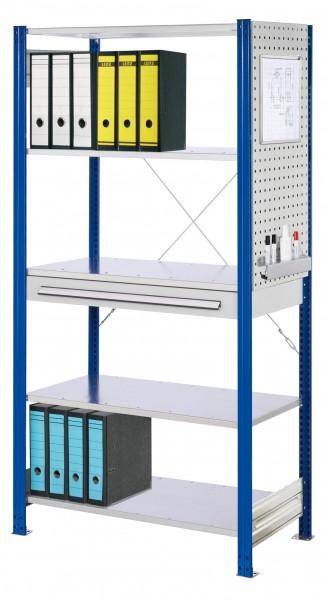 ®RasterPlan Steckregal Grundfeld RAL 5010 Modell 2, 2000 x 1000 x 500 mm. Grundfeld mit 5 x Fachboden 500 mm, 1 x Schubladenblock, einfach1 x Seitenwand Lochplatte H 1000 mm, 1 x Formularhalter, 1 x Kombistifthalter.
