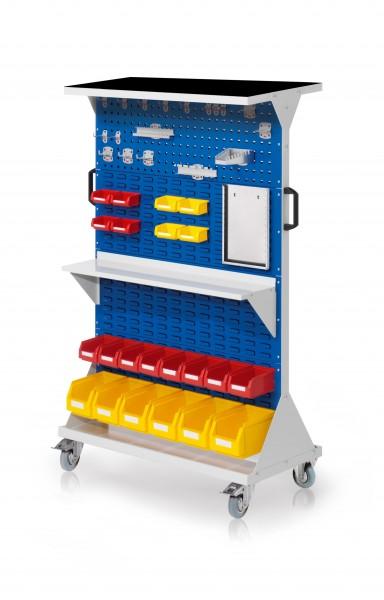 RasterMobil Gr. 4 RAL 7035/5010, H1620 x B1000 x T500 mm. 1 x Auflageboden aus Stahlblech inkl. Riffelgummimatte, 1 x Werkzeughaltersort. 18-teilig, 1 x Stahlboden 950 mm, 1 x Formularhalter A4, 6 x Lsk. Gr. 6, 8 x Lsk. Gr. 7,