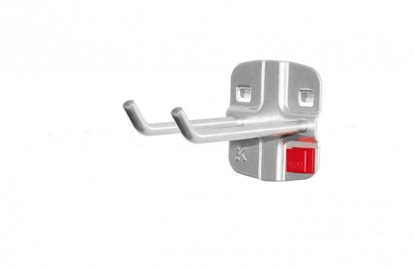 ®RasterPlan/ABAX® Doppelter Werkzeughalter, schräges Hakenende Länge 75 mm Alufarben