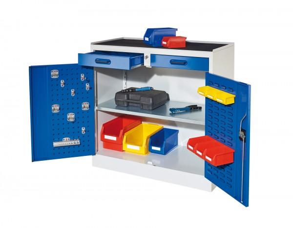 RasterPlan Arbeitsplatzschrank Modell 4, RAL 7035/5010. Je 1 Innentür RasterPlan Lochplatten, RasterPlan Schlitzplatten, 2 Schubladen, 1 Fachboden.