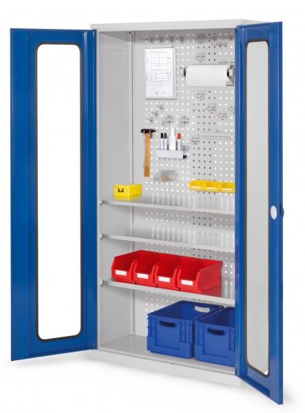 RasterPlan Werkzeugschrank Mod 6 410, H1950 x B1000 x T410 mm, RAL 7035/5010. Sichtfenstertüren, 3 Fachböden.