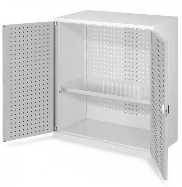 ®RasterPlan Werkzeugschrank Mod 2 500, H1000 x B1000 x T500 mm,RAL 7035. Türinnenseite: ®RasterPlan Lochplatte, 1 Fachboden.
