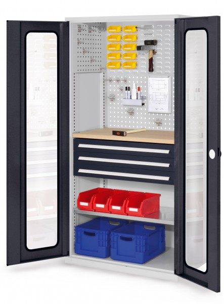 RasterPlan Schubladenschrank, Modell 35, RAL 7035/7016. Sichtfenstertüren 1950 x 1000 x 600 mm, mm 3 Schubladen H 100 mm, mm 1 Fachböden verzinkt 1 Werkbankplatte Multiplex.