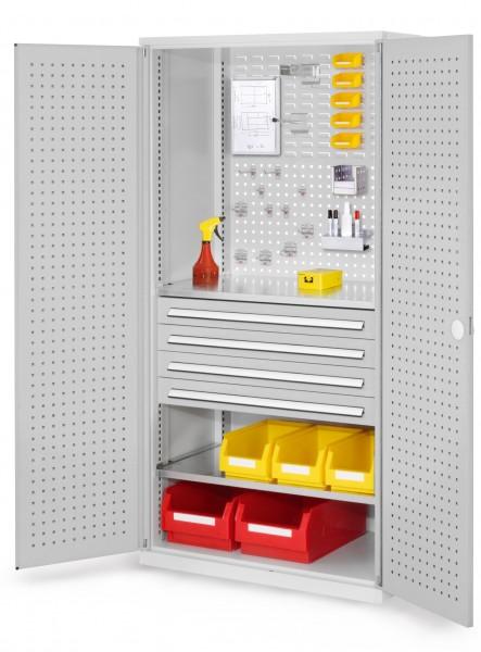 RasterPlan Schubladenschrank, Modell 13, RAL 7035. Türinnenseite: Lochplatten, 1950 x 1000 x 600 mm, 4 Schubladen H 100 mm, 2 Fachböden verzinkt.