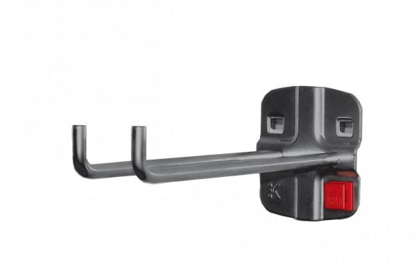 ®RasterPlan/ABAX® Doppelter Werkzeughalter, senkrechtes Hakenende Länge 150 mm Anthrazitgrau