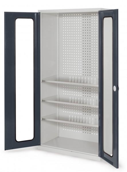 RasterPlan Werkzeugschrank Mod 6 500, H1950 x B1000 x T500 mm, RAL 7035/7016. Sichtfenstertüren, 3 Fachböden.