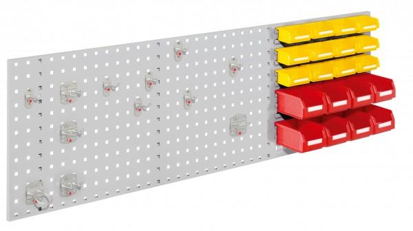 ®RasterPlan Kombiplatte Set 3, RAL 7035. 1 x Kombiplatte H 450 x B 1500 mm, 8 x Lagersichtkästen Größe 7, 12 x Lagersichtkästen Größe 8, 1 x Werkzeughaltersortiment 12-teilig.