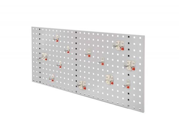 RasterPlan/ ABAX Lochplatten Einsteigerset 2, RAL 7035. Bestehend aus 1 Lochplatte 1000 mm, 1 ABAX Werkzeughaltersortiment 12-teilig,