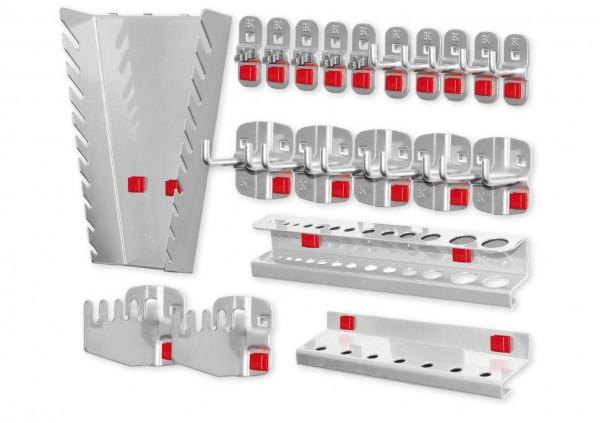 ®RasterPlan/ABAX® Werkzeughalter-Sortiment 20-teilig Alufarben 5 Werkzeughalter, senkrechtes Hakenende, 5 Doppelte Werkzeughalter, senkrechtes Hakenende, 5 Werkzeugklemmen, 2 Sägenhalter, 1 Bithalter, 1 Bohrerhalter, 1 Schraubenschlüsselhalter, senkr