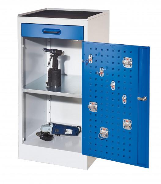 RasterPlan Arbeitsplatzschrank Modell 1, 1000 x 500 x 500 mm. RAL 7035/5010, Türinnenseite: RasterPlan Lochplatten, 1 Schublade, 1 Boden.