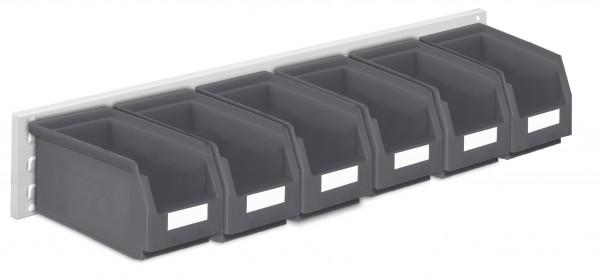 ®RasterPlan Wandschiene Schlitzplatte Set 11, L 920 mm, x H 140 mm, RAL 7035. 6 x Lagersichtkästen Größe 5.