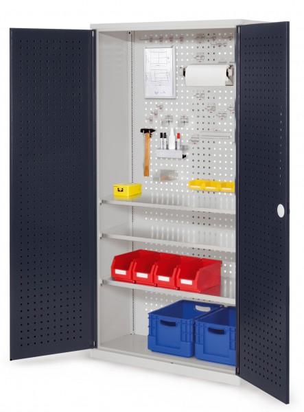 ®RasterPlan Werkzeugschrank Mod 6 410, H1950 x B1000 x T410 mm, RAL 7035/7016. Türinnenseite: ®RasterPlan Lochplatte, 3 Fachböden.