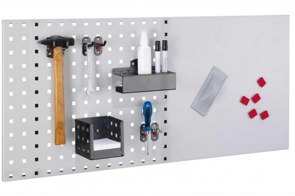 LogoChart Lager Set 4, RAL 7035 / 7016. 1 LogoChart®, RAL 7035,1 Doppelter Werkzeughalter, 2 Werkzeughalter schräges Ende, 2 Werkzeugklemmen, 1 Kombi Stifthalter, 1 Zettelbox, 5 Magnete, 1 Wischer (magnetisch). 1 Reinigungsspray, 2 Non-Permanent-Stif