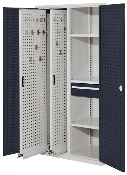 RasterPlan Vertikalschrank Modell 82, 1950 x 1000 x 600 mm, RAL 7035/7016. Türinnenseite: RasterPlan Lochplatten, 2 Auszüge Lochplatten, 3 Fachböden, 1 Schubladen 175 mm.