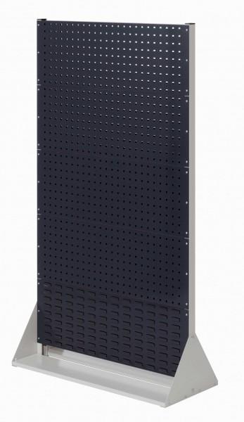 RasterPlan Stellwand Gr.5 doppelseitig, H1790 x B1000 x T430 mm, RAL 7035/7016. 8 Lochplatten, 2 Schlitzplatten.