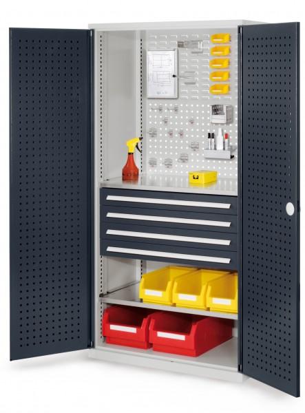 RasterPlan Schubladenschrank, Modell 13, RAL 7035/7016. Türinnenseite: Lochplatten, 1950 x 1000 x 600 mm, mm 4 Schubladen H 100 mm, mm 2 Fachböden verzinkt.