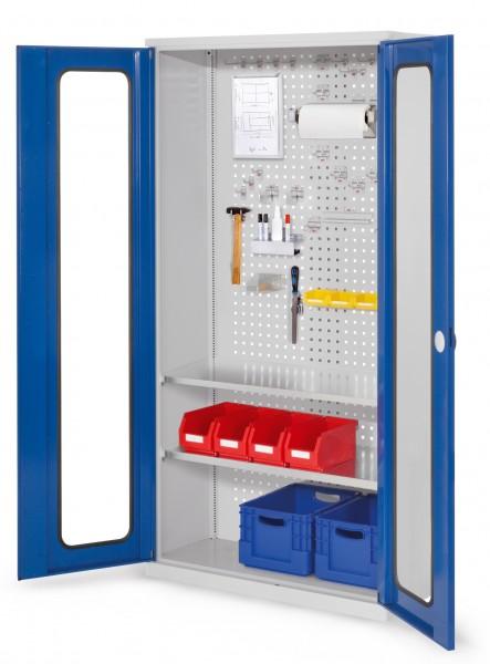 ®RasterPlan Werkzeugschrank Mod 5 410, H1950 x B1000 x T410 mm, RAL 7035/5010. Sichtfenstertür., 2 Fachböden.