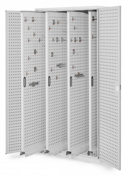 ®RasterPlan Vertikalschrank Modell 83, 1950 x 1000 x 600 mm, RAL 7035. Türinnenseite: ®RasterPlan Lochplatten. 4 Auszüge Lochplatten.