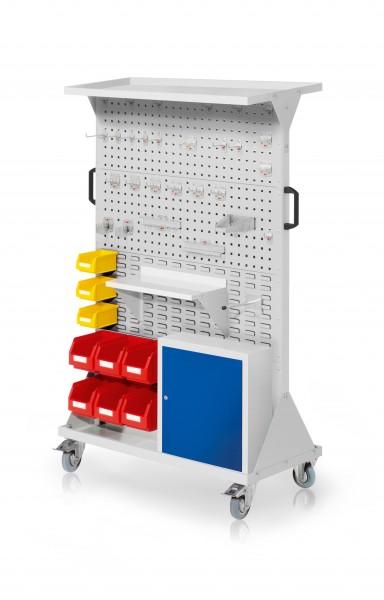 RasterMobil Gr. 4 RAL 7035, H1620 x B1000 x T500 mm. 1 x Auflageboden aus Stahlblech, 1 x Werkzeughaltersort. 28-teilig, 1 x Stahlboden 450 mm, 1 x Universalhalter,1 x Einhängeschrank, 6 x Lsk. Gr. 6, 3 x Lsk. Gr. 7.