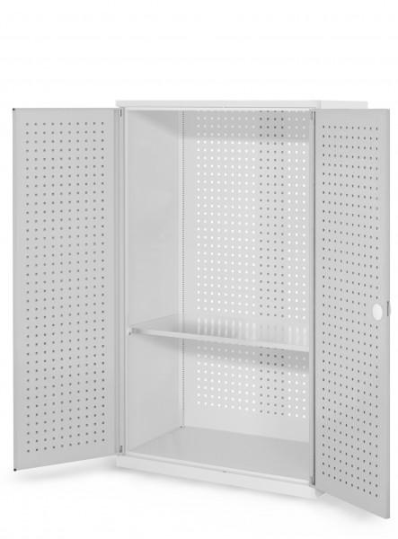 RasterPlan Werkzeugschrank Mod 3 500, H1600 x B1000 x T500 mm, RAL 7035. Türinnenseite: RasterPlan Lochplatten,, 1 Fachboden.